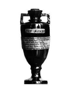 "Sport. Cricket. 1882. One of the most famous sporting trophies, The Ashes. It was in 1882 after the bowling of ""Demon"" Spofforth and Boyle had bowled England out for 77 and brought off a seemingly impossible Australian victory by 7 runs, that the Ashes we"